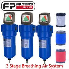 """3 Stage Breathing Air Filter System 1um, 0.01um & Carbon - 1/2"""" BSP 45CFM 16bar"""