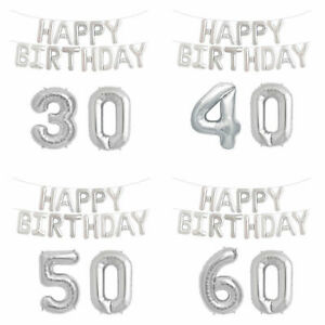 16/18/21/30/40/50/60 Age Number Foil Balloons Self-inflating Banner Baloons