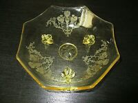 VINTAGE LANCASTER YELLOW DEPRESSION GLASS Pheonix Etched FOOTED BOWL