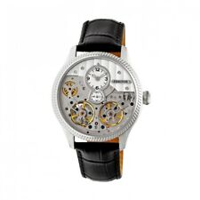Heritor Automatic Winthrop Men's Leather Skeleton Watch - Silver HR7301