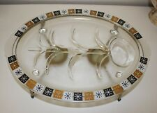 Inland Glass Oval Serving Platter Metal Warming Stand Georges Briard Mcm Retro