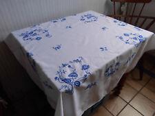 Tischdecke, antik,Handarbeit-blaue Stickerei,110cmx125cm,weiße Baumwolle