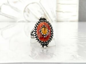 Carolyn Pollack CP Spiney Oyster Sterling Silver 925 Citrine SOUTHWEST Sz 9 Ring