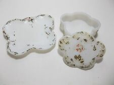 Antique Milk Glass Trinket Box PIN TRAY Hand Painted SET