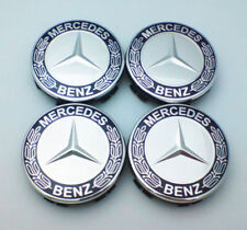 4x Mercedes Benz Alloy Wheel Centre Caps 75mm Badges Dark Blue Hub Emblem