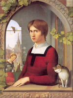 Oil painting Overbeck Johann Friedrich German - The Painter Franz Pforr with cat