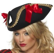 Ladies Pirate Fancy Dress Hat Fabric Pirate Black/Red #24206 by Smiffys new