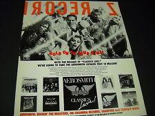 Aerosmith says Hold On To Your Bins seldom seen 1984 Promo Display Ad mint