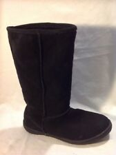 Barratts Black Mid Calf Suede Boots Size 6