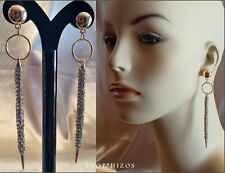"GOLD LONG METAL SPIKE PAVE CRYSTAL STONE 4"" DANGLE DROP EARRINGS NEW"