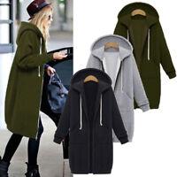 Women's Warm  Jacket Hoodie Hooded Long Sweater Zipper Sweatshirt Coat Fashion