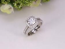 2 ct Cushion Halo Diamond Engagement Wedding Ring Set Solid 14k White Gold