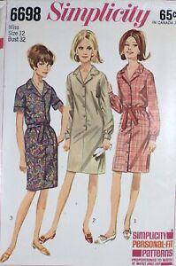 Vtg 1960s Simplicity 6698 Slim Tie Belt Shirt Dress SEWING PATTERN UnCUT 12