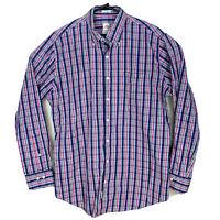 Peter Millar Long Sleeve Oxford Sport Shirt Plaid Mens Sz L Blue Pink Green EUC