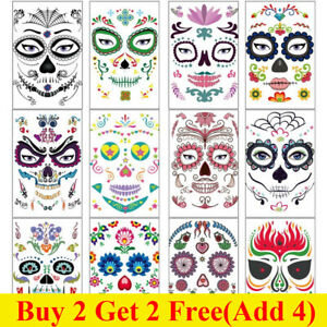 Halloween Day of the Dead Face Mask Temporary Transfer Tattoo Mexic Skull Sugar