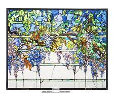 "Tiffany Wisteria Tabletop or Window Stained Art Glass Panel 14"" x 11.36"" NIB"