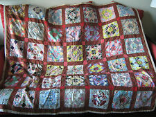 VINTAGE handmade PATCHWORK Quilt FOLK ART North Carolina Appalachia crazy design