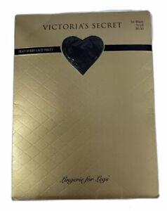 Vintage Victoria's Secret Silky Sheer Lace Panty Pantyhose Jet Black Small New