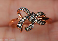 Brand New 10K 0.14ct Champagne Diamond Bow Ring Size 8 Rose Gold
