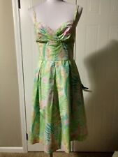 LILLY PULITZER Pleated Bust Green Pink White Floral Dress Sz 6