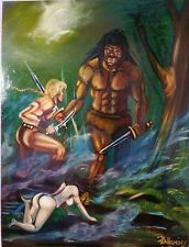 Frazetta style painting Teegra and Arn under attack by pallominy oil on wood pan
