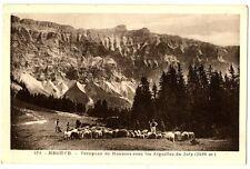 CPA 74 Haute-Savoie Megève Troupeau de Moutons sous les Aiguilles du Joly animé