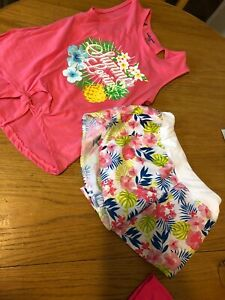 2 Pc Girls S(7/8)  Bobbie Brooks Top Sleeveless Pink & ZonePro Floral Shorts