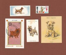 Cairn Terrier dog stamp, Tb seal, and trade cards-set of 5