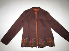 Pinky & Dianne Women's Open Front Jacket Medium NWT Long Sleeves Brown Cotton