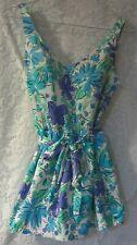 Vintage Maxine of Hollywood blue floral swimsuit size 14