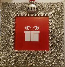 STUDIO DECOR 2019 SQUARE SILVER SCROLL CHRISTMAS ORNATE PICTURE FRAME ORNAMENT