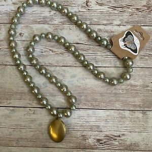 Handmade Upcycled Vintage Beaded Necklace With Gold Toned Locket #46 NWT