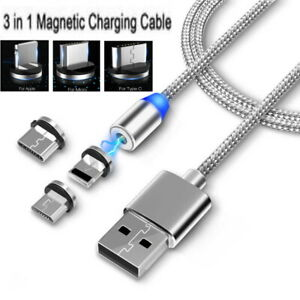 3-in-1 Multi USB Magnetic charger cable cord for iPhone (8 pin), micro, Type-C