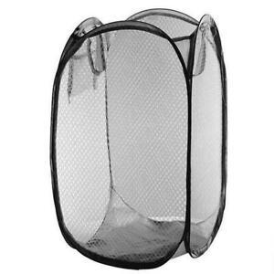 Black Pop Up Laundry Bag Washing Foldable Popup Basket Bag Mesh Hamper Storage