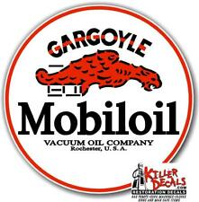 "(GARGO-3) 6"" RED RING MOBIL MOBILOIL GARGOYLE DECAL OIL CAN GAS PUMP GASOLINE"