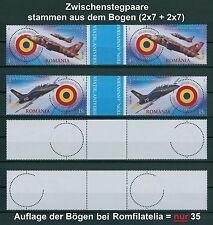 Rumänien 2016 Luftfahrt,Flugzeug, Airplane,Coanda Mi.7128-29 ** ZW-Paare,GUTTER