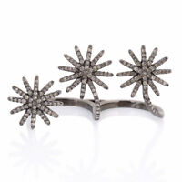 Memorial Gift 1.06ct Pave Diamond 925 Sterling Silver Two Finger Ring Jewelry