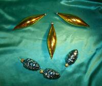 6 alte Christbaumkugeln Glas Zapfen blau Oliven gold  Christbaumschmuck Vintage