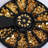 12Patterns/Box Gold Plated Metal Black Rhinestone Studs 3D Nail Art Decoration