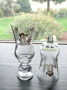 2 HOMCO Home Interiors SNOWMAN Decorated Votive Cup Candle Holders