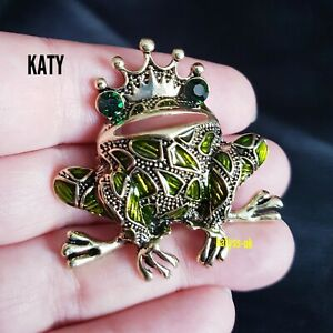 Frog Prince Vintage Style Antique Gold Diamante Green Crystal BROOCH Pin Gift