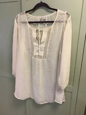 Avenue ~ Size 22/24 ~ 100% Polyester ~ Ivory/white Blouse ~3/4 Sleeve ~Pre Owned
