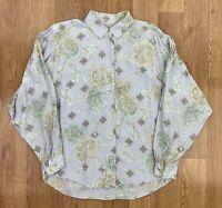 Vintage BENETTON Womens VISCOSE Long Sleeve Shirt | Blouse Retro | UK14 Purple
