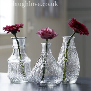 Set Of 3 Assorted Decorative Clear Glass Vases - Set B