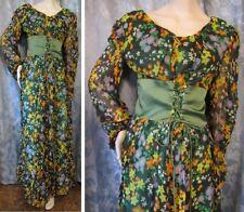 "Vtg 70s PEASANT Gypsy CORSET WAIST Floral Chiffon MAXI DRESS As Is TALL 58 1/2""L"