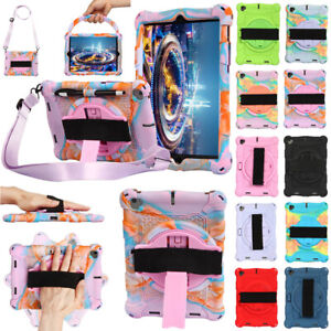 For iPad Mini 1 2 3 4 Kids Silicone Rotate Stand Case Cover With Shoulder Strap