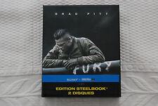 FURY Coffret Collector + Steelbook + Goodies + 2 bluray Brad Pitt NEUF
