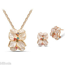 Swarovski Elements Crystal 18k Real Gold Plated Fashion Necklace Jewellery Set W