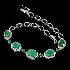 Sterling Silver 925 Genuine Natural Green Emerald Flower Bracelet 7 Inches