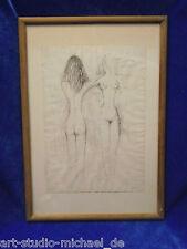 """Marie Pospisilova:  """"Zwei Akte"""" Federzeichnung 1953"""